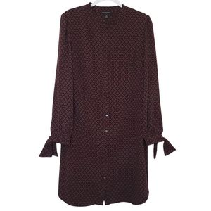 Banana Republic Colcombo Long Sleeve Shirtdress with Cuff Ties, Black & Pink, 12